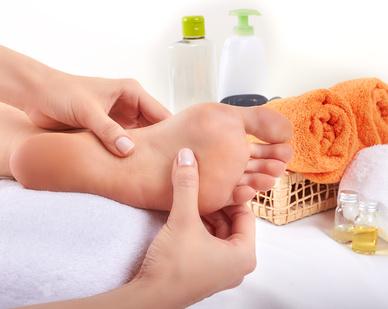 Massage of human foot