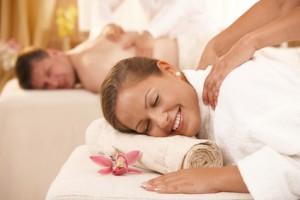Couple getting massage